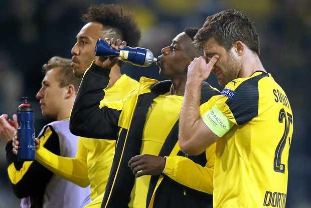 Borussia's Sokratis (R) reacts after the UEFA Champions League quarter final