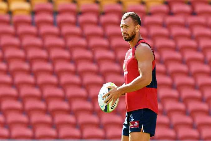 Quade Cooper looks on during the Queensland Reds captains run at Suncorp Stadium