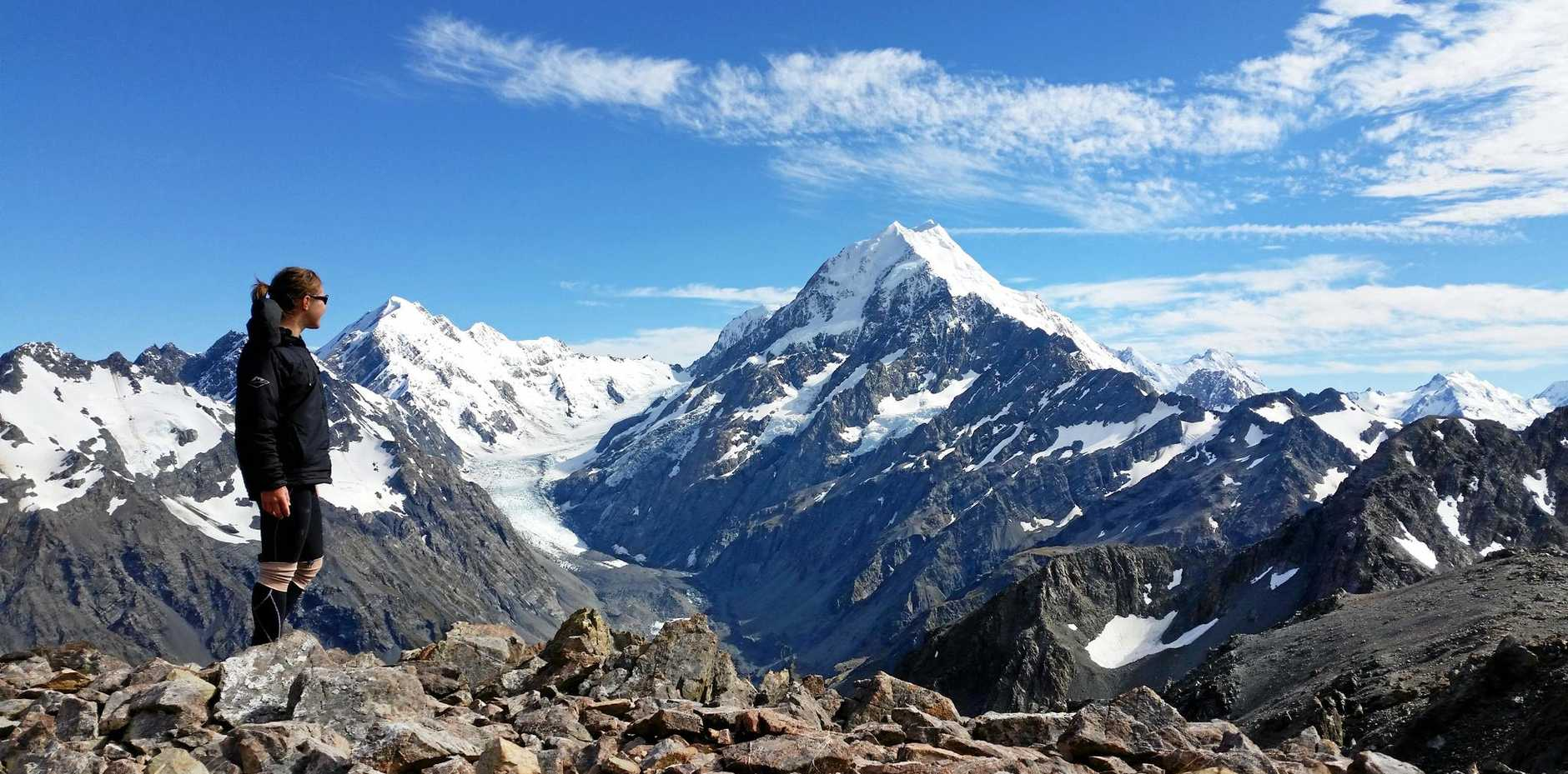 WALK ON: Former QT photographer Sarah Harvey will hike through the Pyrenees in June to raise funds for Epidermolysis Bullosa (EB) sufferers. She is pictured here in NZ overlooking Mt Cook.