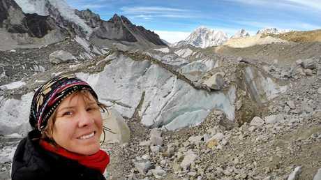 Sarah Harvey climbing in the Everest region of Nepal.
