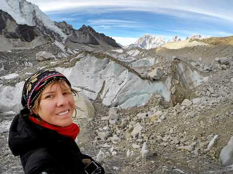 Sarah Harvey climbing in the Everest region of Nepal.