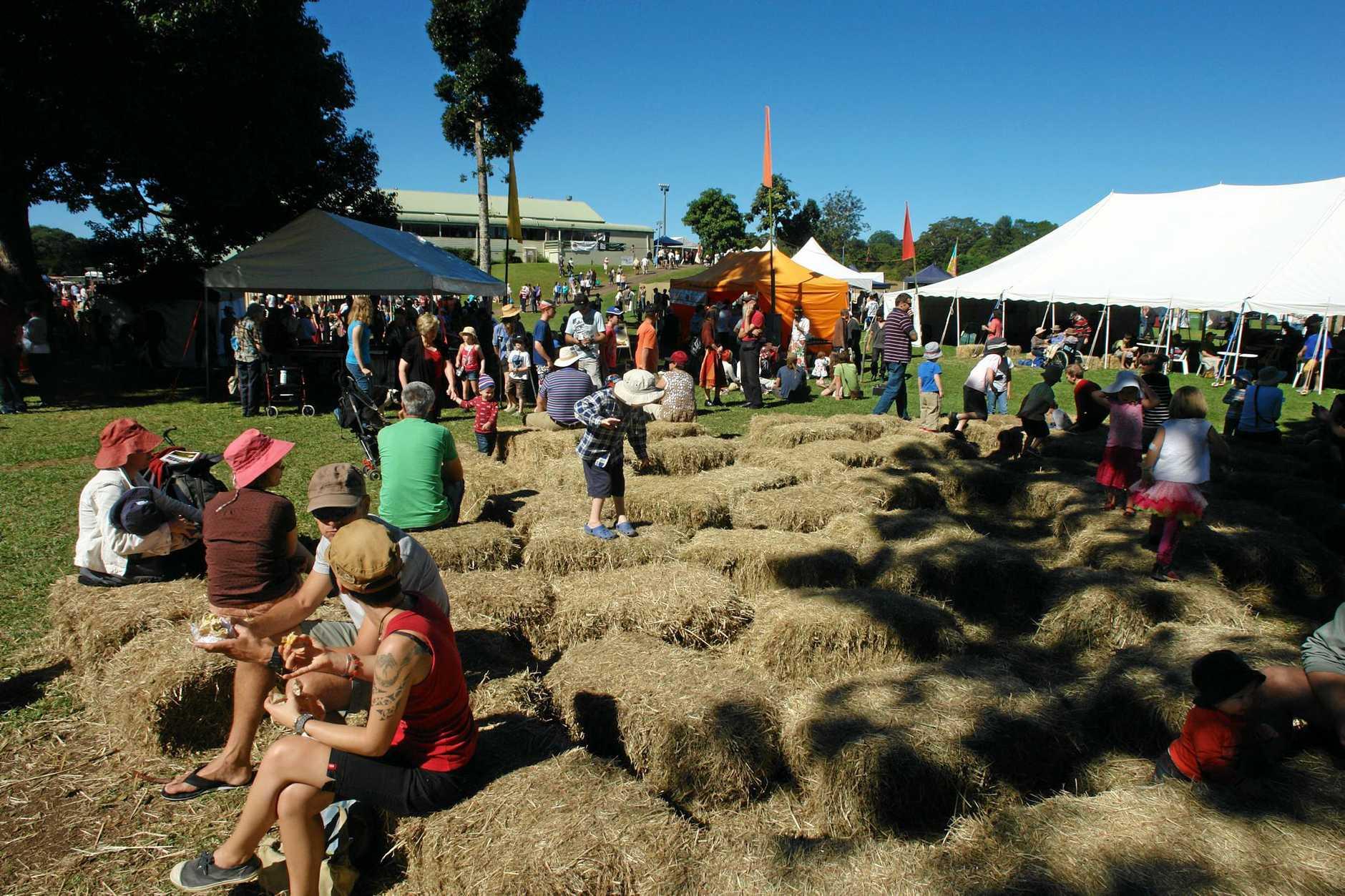 The haybale maze at Maleny Wood Expo.