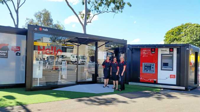 NAB's Lismore branch is currently closed due to flood damage, and a temporary pop-up branch, or 'Bank in a Box', is now operating in town at the Browns Creek/Clyde Campbell Car Park.