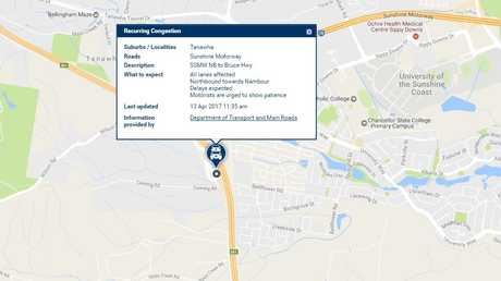 Traffic alert on Department of Transport and Main Road's QLDTraffic site.