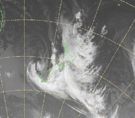 Radar images show cloud over New Zealand. Source NZ Met Service