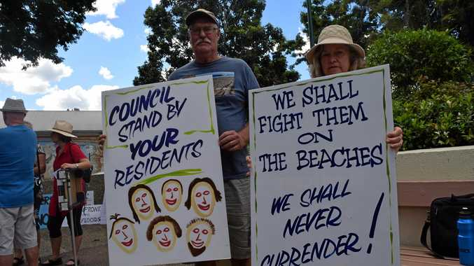 PROTEST: Protesters gathered at the Nambour Council Chambers on Thursday afternoon. Many were there protesting the Twin Waters West planning scheme amendments.