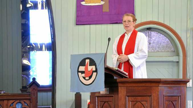 St Paul's Uniting Church Minister Rev Dr Julia Pitman delivers her Easter message at Friday's service.