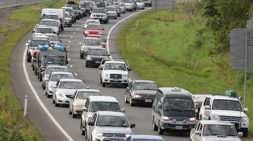 Traffic congestion on the Bruce Highway during a busy period.