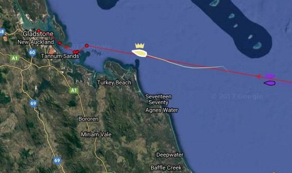 Brisbane to Gladstone Yacht Tracker has Black Jack currently approaching Turkey Beach.
