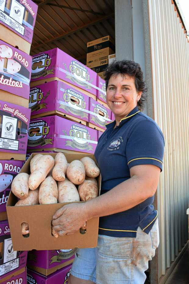 UNDERRATED: Linda Zunker with a box of Windhum Farms Bonita potatoes.