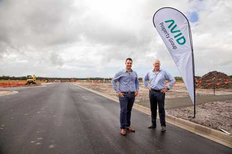 MILESTONE: AVID Property Group's Anthony Demiris and general manager Bruce Harper on site at Palmview.