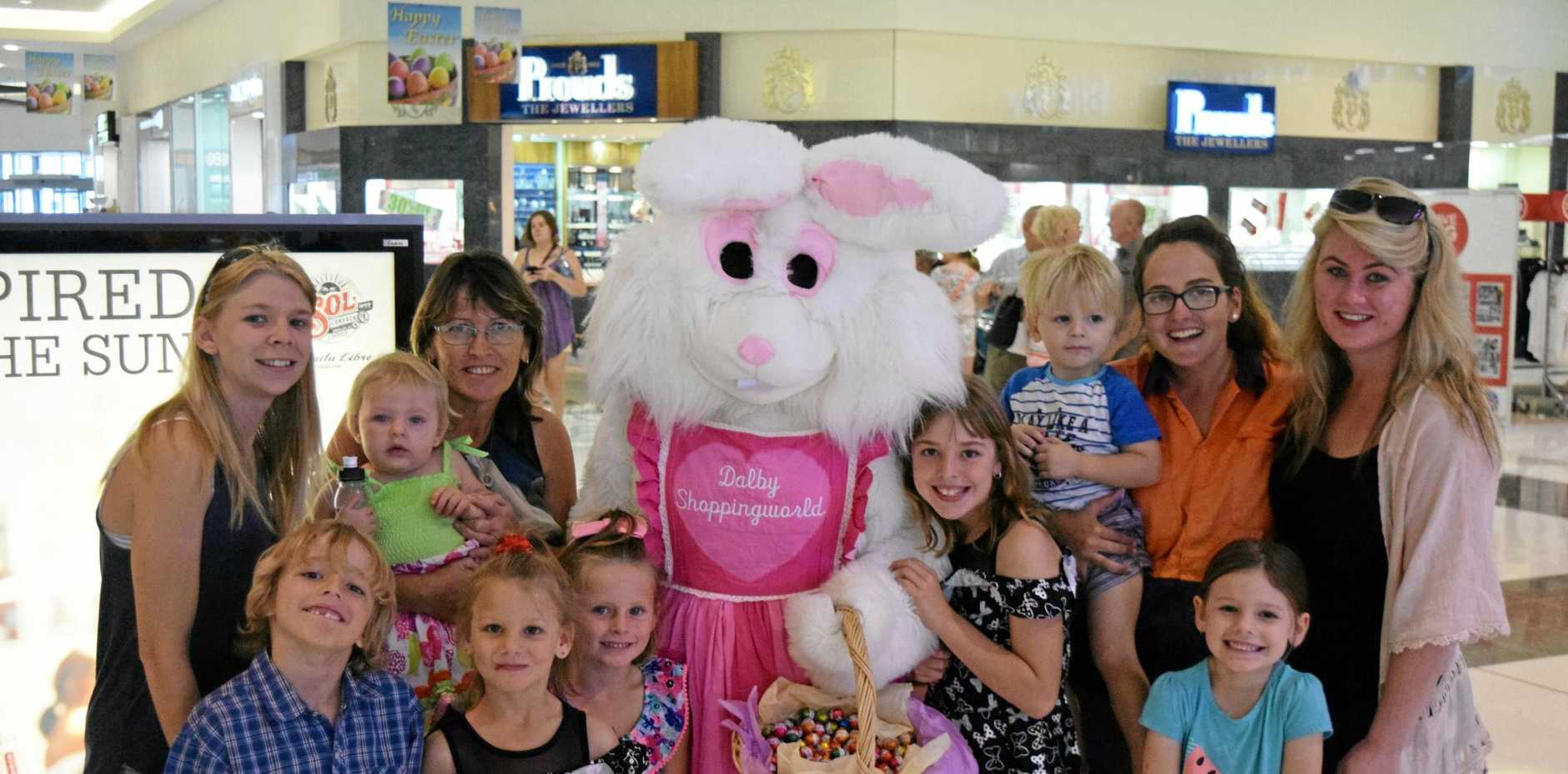 CHOCOLATE FOR ALL: The Easter Bunny made a special visit to Dalby Shoppingworld on Thursday and was swamped by children.