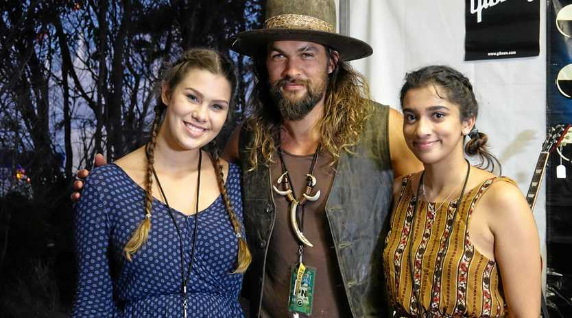 Hollywood star Jason Momoa was happy to interacts with fans backstage at Bluesfest 2017.