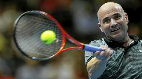 Andre Agassi playing an exhibition match in 2015.