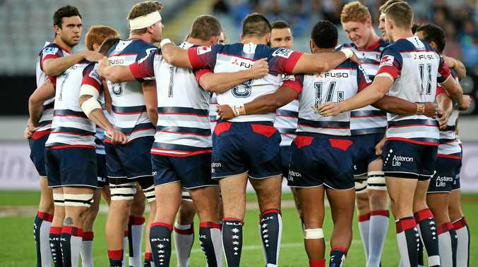 Rebels players huddle before the start of the Round 10 Super Rugby match against the Blues at Eden Park in Auckland.