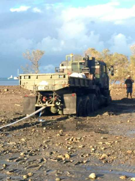 The salvage truck which became bogged at Cannonvale Beach after trying to reach a beached yacht.