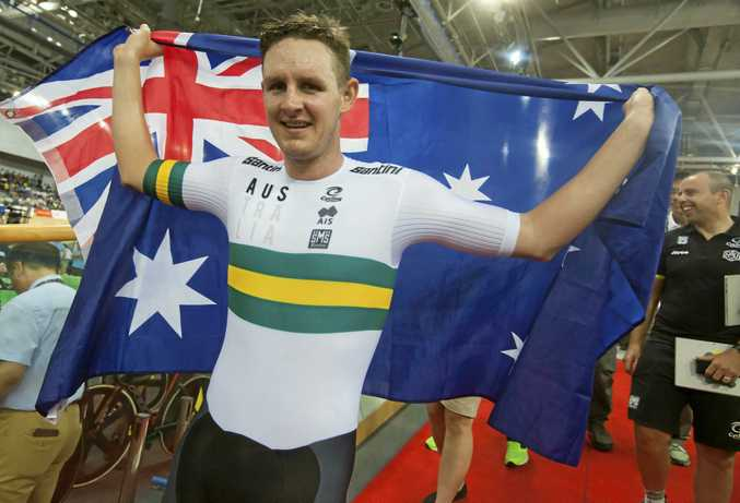 Australian cyclist Jordan Kerby celebrates winning gold in the Men's Individual Pursuit Race Final at the Union Cycliste Internationale (UCI) 2017 Track Cycling World Championships, Hong Kong, China, 14 April 2017. EPA/ALEX HOFFORD