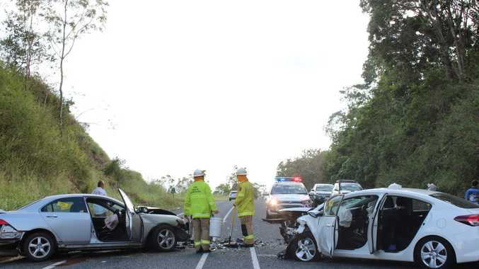 A collision has closed the Bruce Hwy north of The Leap.
