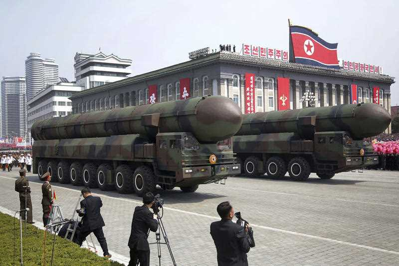 Missiles are paraded across Kim Il Sung Square during a military parade on Saturday, April 15, 2017, in Pyongyang, North Korea to celebrate the 105th birth anniversary of Kim Il Sung, the country's late founder and grandfather of current ruler Kim Jong Un.