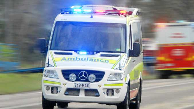 A man has been taken to hospital with a leg injury after being hit by a car.