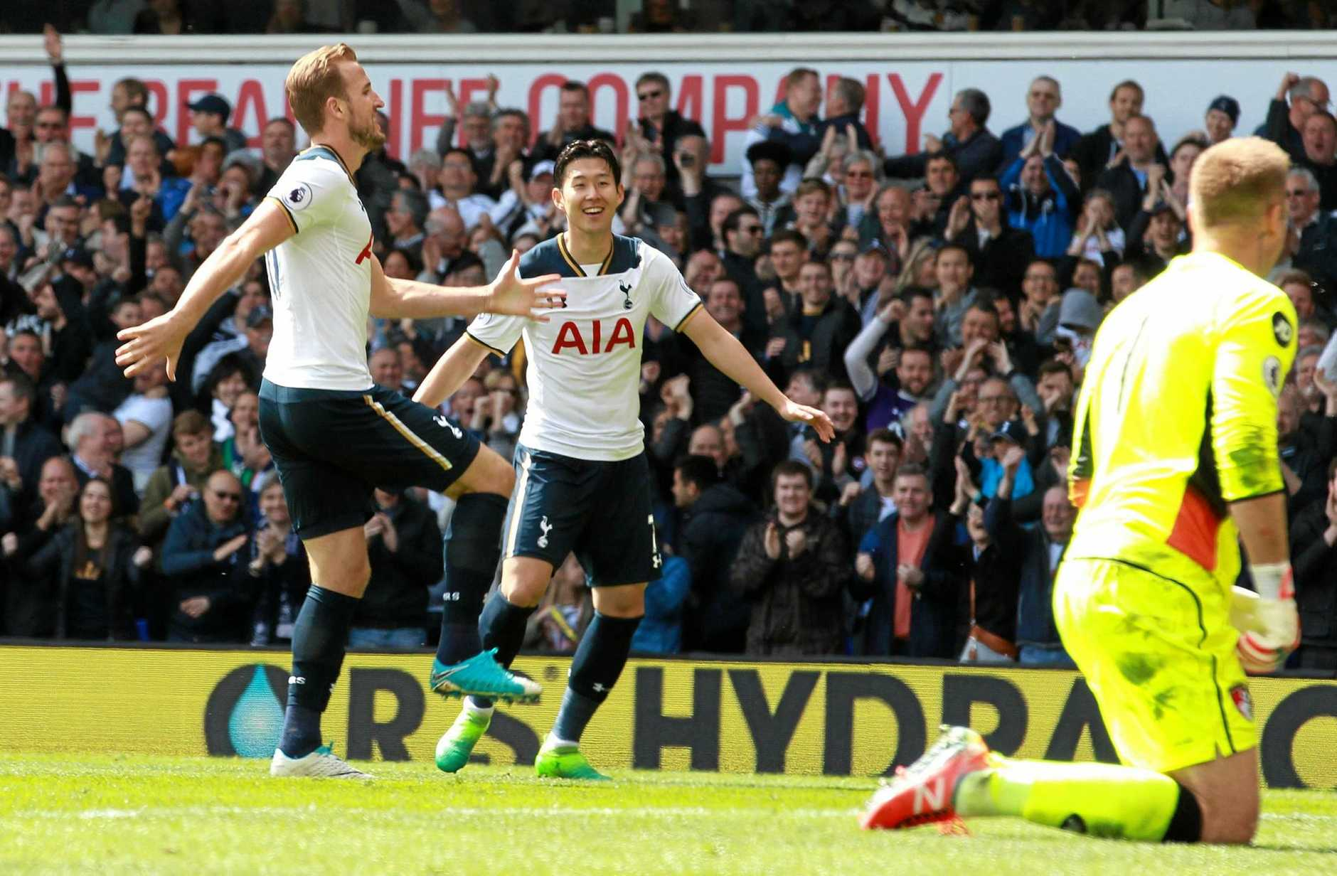 Harry Kane (left) celebrates his goal during the English Premier League clash between Tottenham Hotspur and Bournemouth at White Hart Lane.