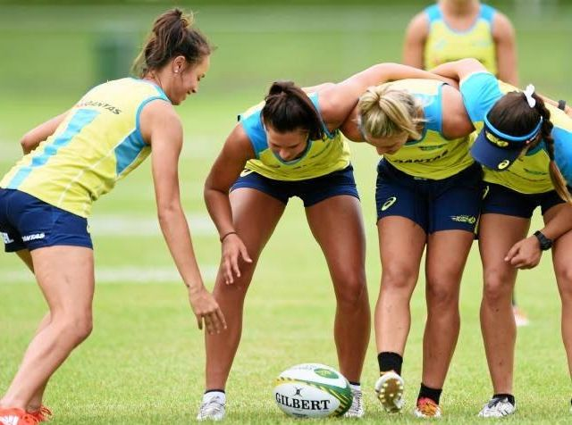 Australia's women's Sevens squad in training.