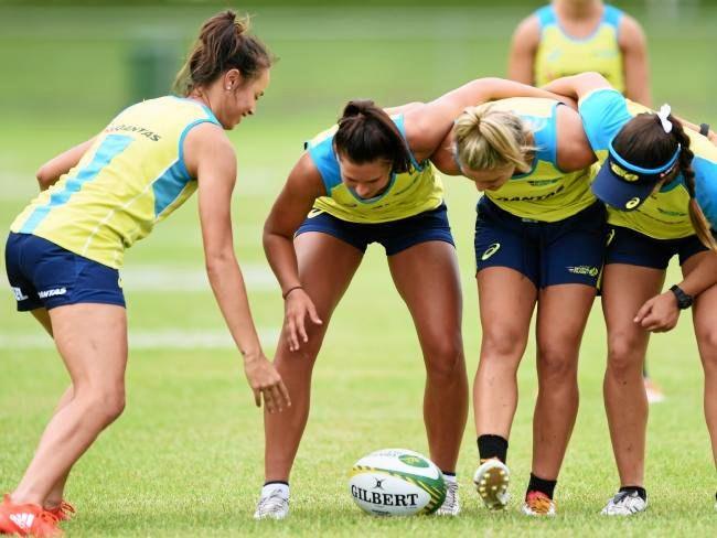 Australia's women's Sevens squad in training.