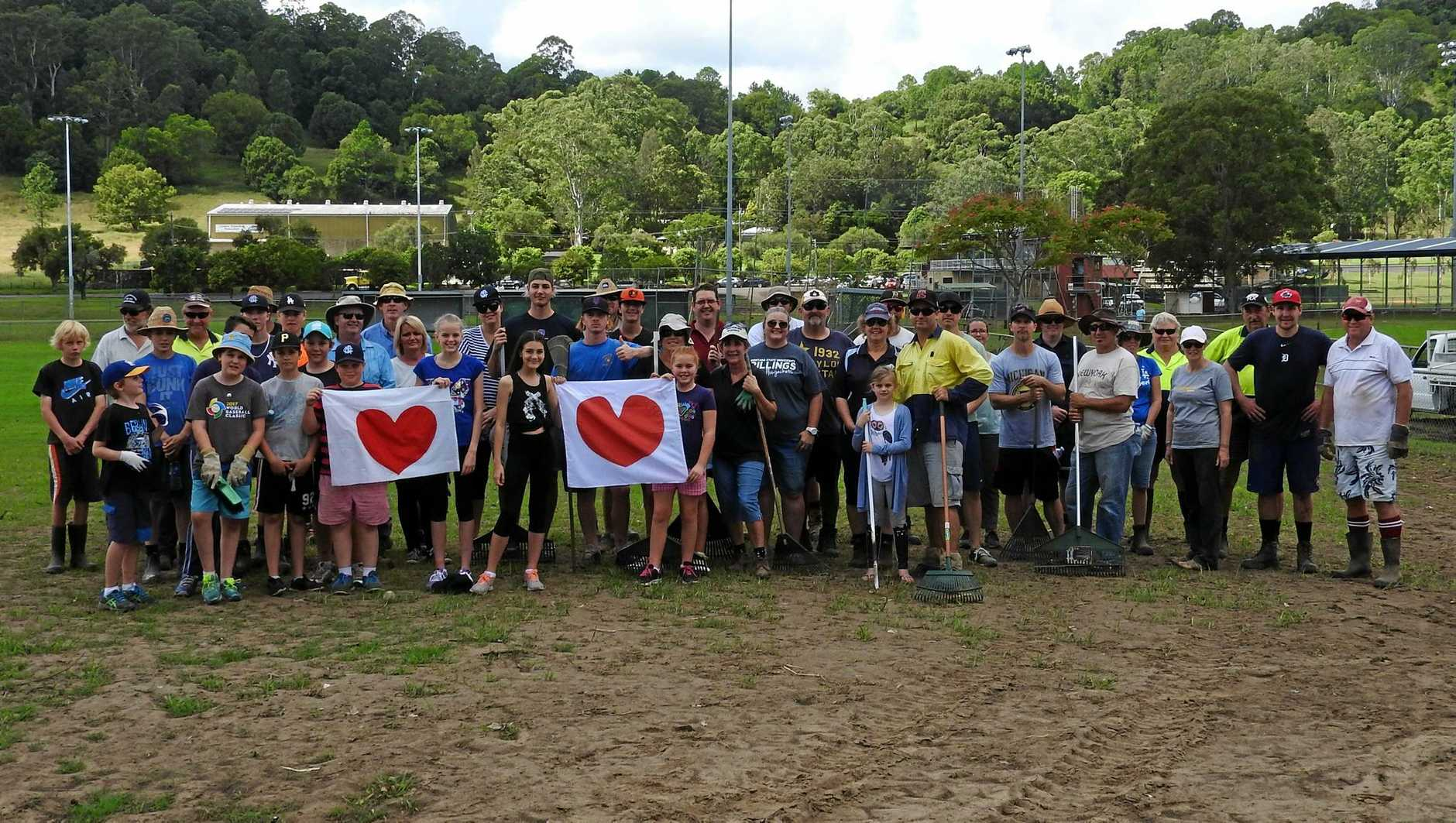BIG EFFORT: Some of the volunteers from Far North Coast baseball and softball who over the past two weekends have brought the diamonds at Albert Park back to life after they were severely damaged by the flood.