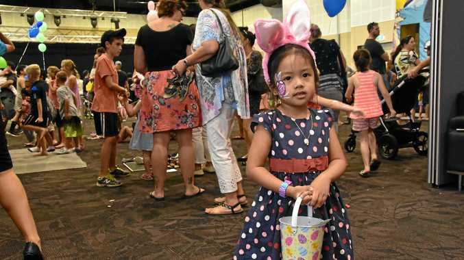 CHOCOLATE GALORE: Lieka Figueroa, 3, has her chocolate eggs at Gladstone's Biggest Easter Egg Hunt run by Lifestyle Church.