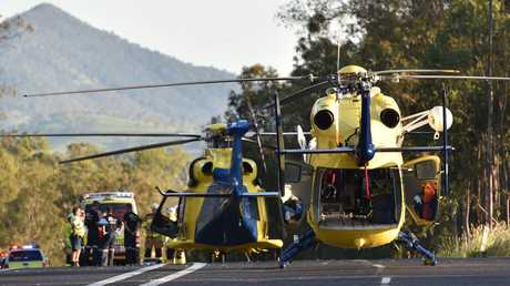 Helicopters at the scene of a double fatality on the Bruce Highway two kilometres north of Tiaro.