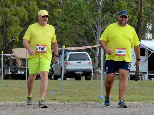 MARATHON EFFORT: Clydesdales Greg Smith and John Marshall return to the Maidenwell Oval for the final hundred metres of their marathon.