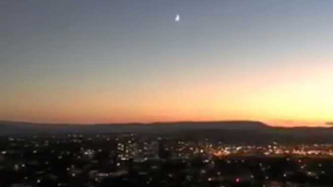 SONIC BOOM: A meteorite filmed at the Gold Coast heads for the Great Dividing Range.