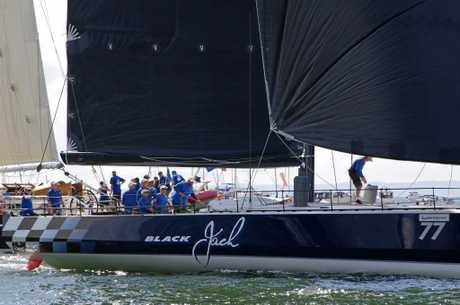 Black Jack skipper Mark Bradford and crew in the 2017 Brisbane to Gladstone (they won line honours in 2015 and 2016).
