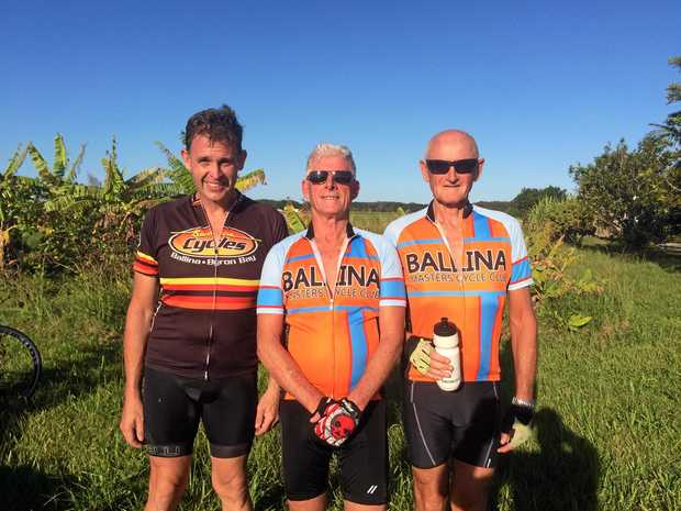 WHEELY GOOD: Brendan Lowrey (3rd) Gavin (1st) Paul O'Kelly (2nd) showed their mettle at the Race of Truth Individual Time Trial event run by the Ballina Masters Cycling Club.