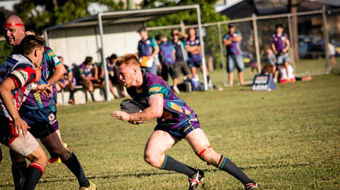 BOMBS AWAY: Evans Head Bombers hooker Nathan Walmsley on the run in NRRRL against Kyogle.