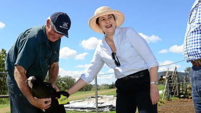 FAIR GO: Queensland Premier Annastacia Palaszczuk meets vice-president of the Queensland Dairyfarmers organisation Ross McInnes.