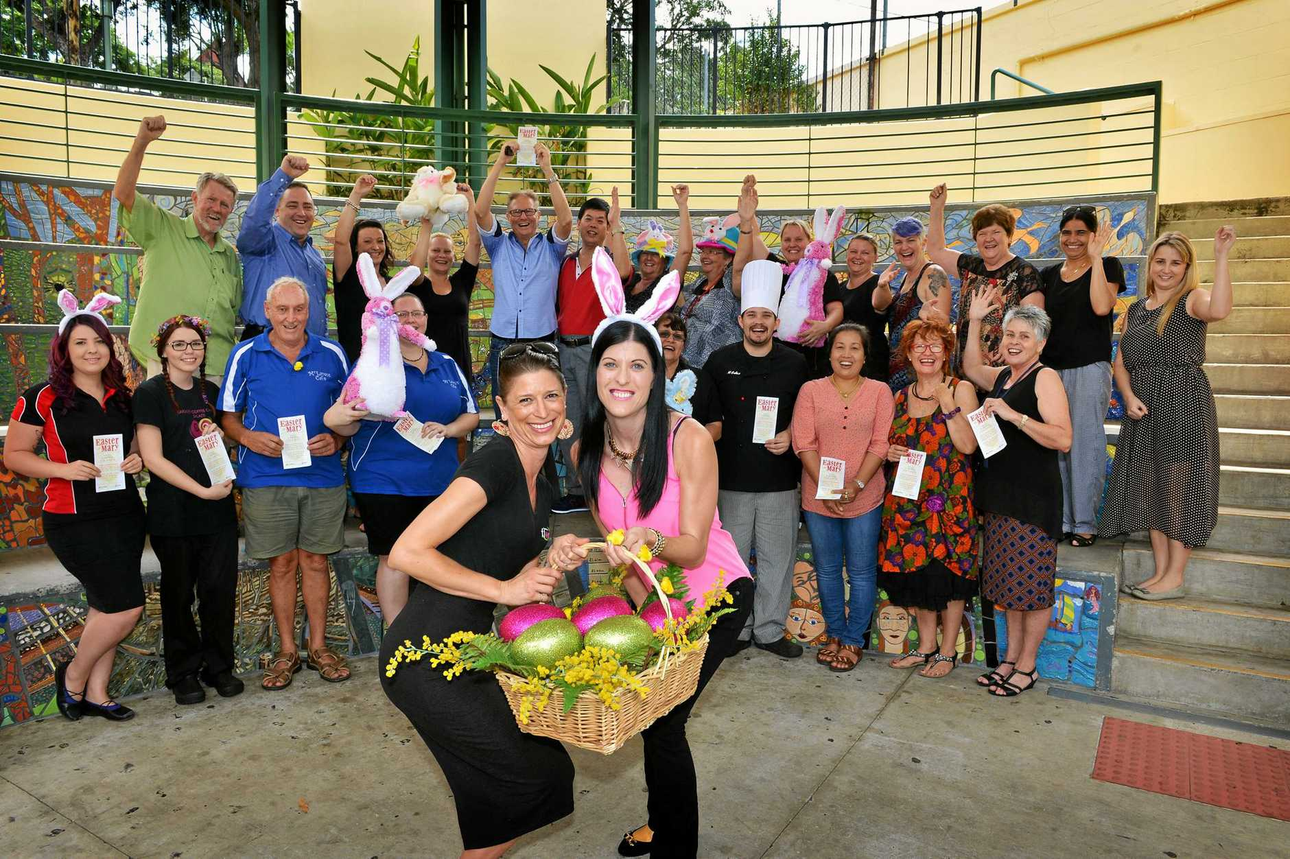 Mary Street, Gympie traders prepare for Easter on Mary on Wednesday, April 1st from 5.00pm to 9.00pm. In front from left is Jan Murphy from Karinya Florist and Gifts with Tracey Clarke from Unearthed Street Wear.     Photo Greg Miller / Gympie Times