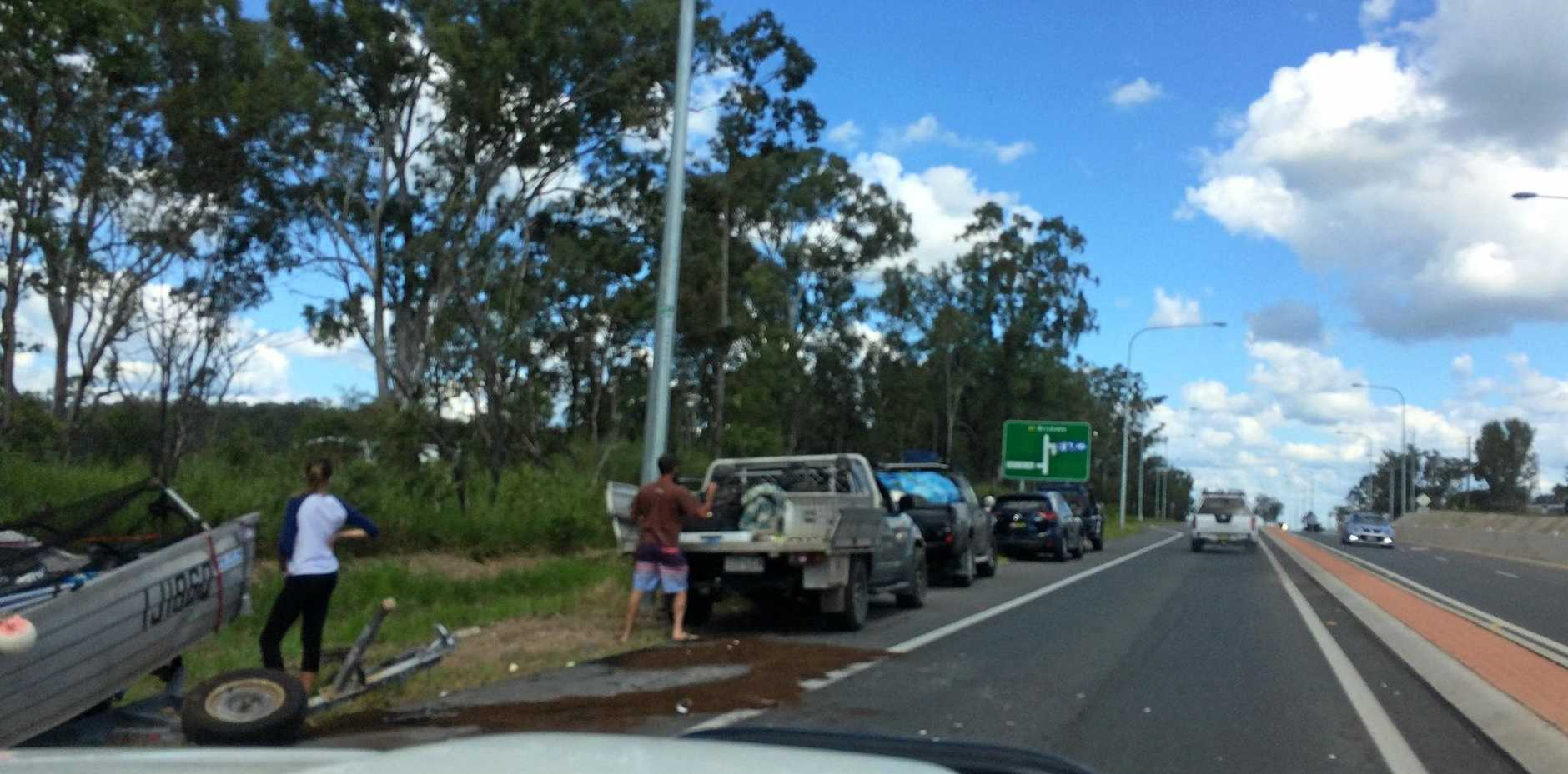 Cars stuck in traffic south of Gympie at 1pm today following a pile up on the Bruce Hwy.