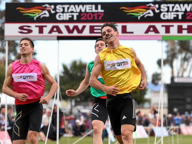 EASY WIN: Matthew Rizzo wins the men's Stawell Gift final on Monday.