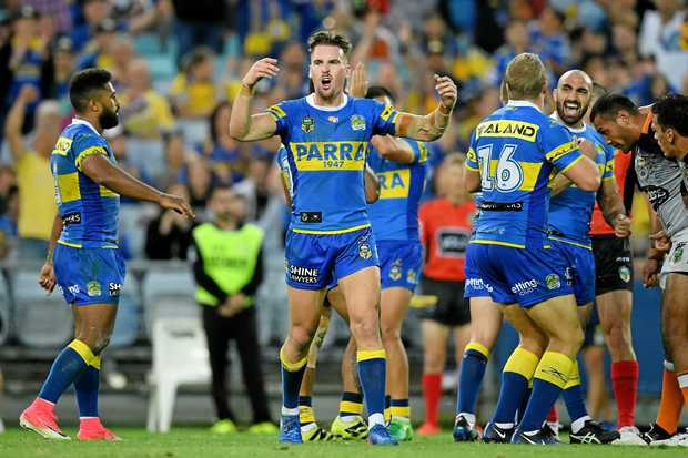 HAPPY EASTER: Clinton Gutherson of the Eels celebrates the win over Wests Tigers.