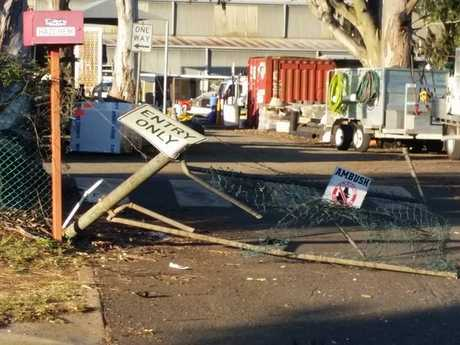 The damaged gates of the Toowoomba Regional Council depot.