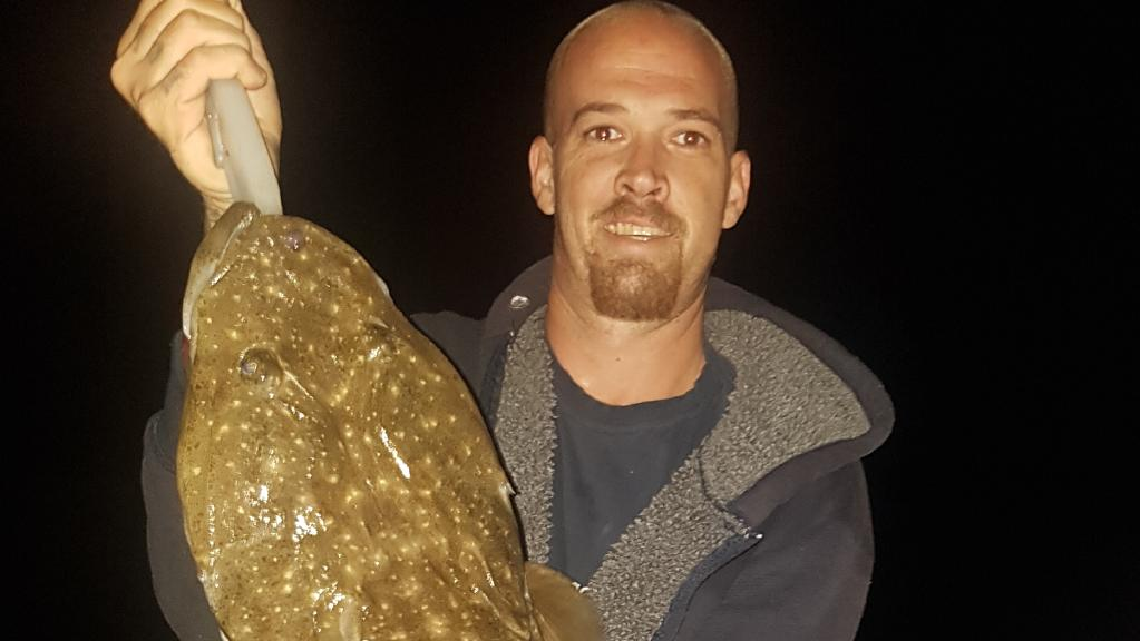 Michael Wilson hooked a 1m-long flathead in the Noosa River. Picture: Supplied