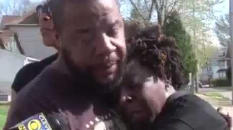 A man and woman believed to be the son and daughter of the victim tell reporters their slain father would 'give you the shirt off his back' as a manhunt ensues for Stephens.Source:Supplied