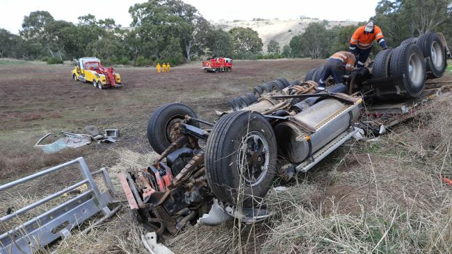Truck driver Kevin Porker died in this rollover near Maude in Victoria earlier this month, with his fiancee Stephanie Teixeira escaping. She gave birth to their son just after the crash. Picture: Mike Dugdale
