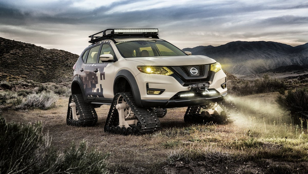 MAD: Nissan Rogue Trail Warrior Project concept car compete with snow tracks and special camo exterior wrap.