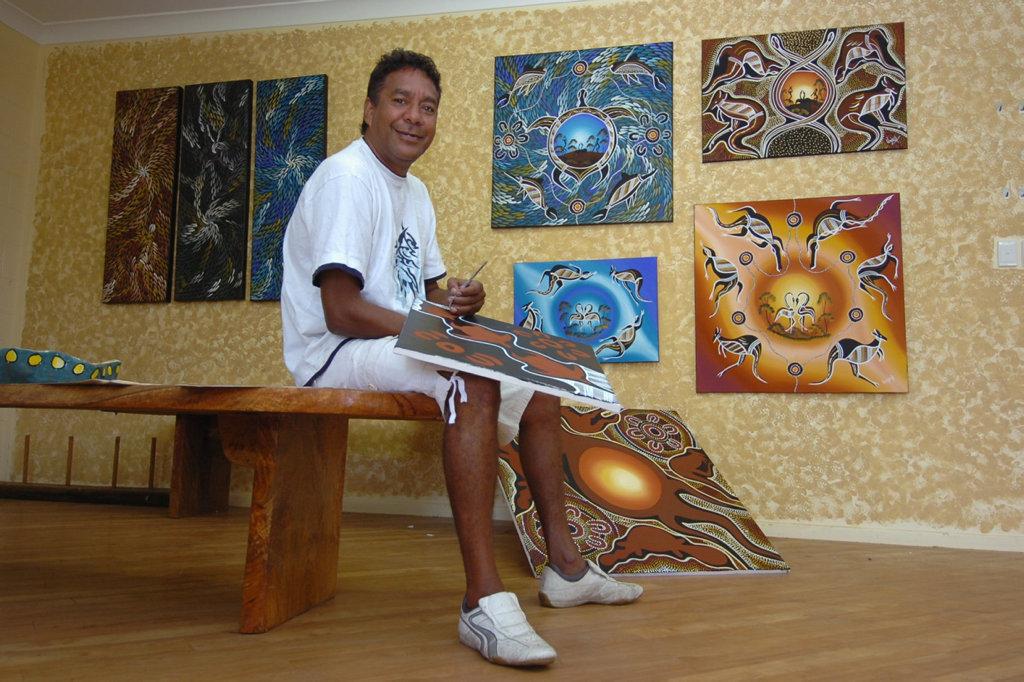 Aboriginal artist Brian 'Winjella Dada' Fisher is now behind bars.