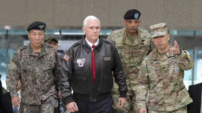 Viewing his adversaries in the distance, Pence traveled to the tense zone dividing North and South Korea and warned Pyongyang that after years of testing the U.S. and South Korea with its nuclear ambitions,