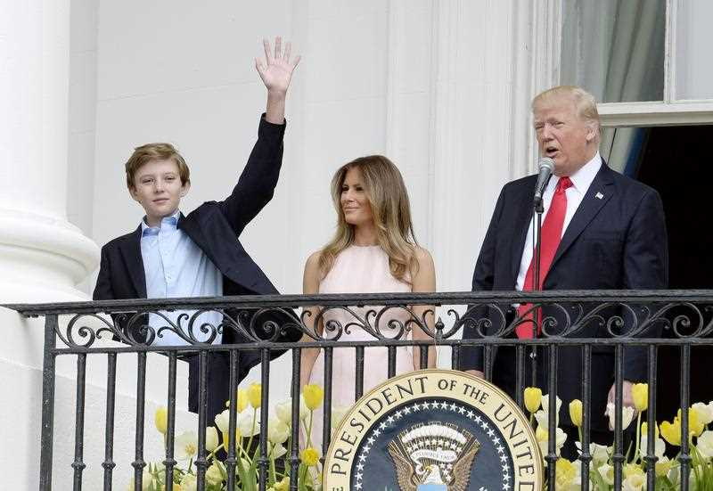 US President Donald J. Trump , First Lady Melania Trump and son Barron Trump attend the annual Easter Egg Roll on the South Lawn of the White House in Washington, DC, USA, 17 April 2017.