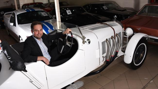Lee Hames in an old Mercedes Benz.