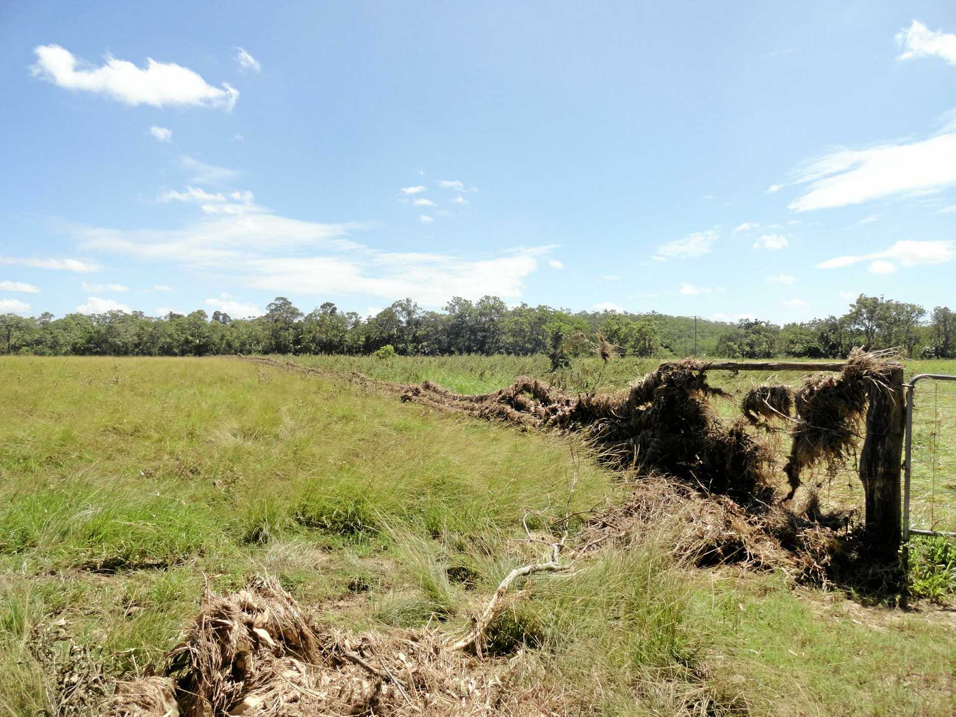 DAMAGE DONE: The destruction at Mr Marteene's cattle property in Koumala following Cyclone Debbie and the recent floods.